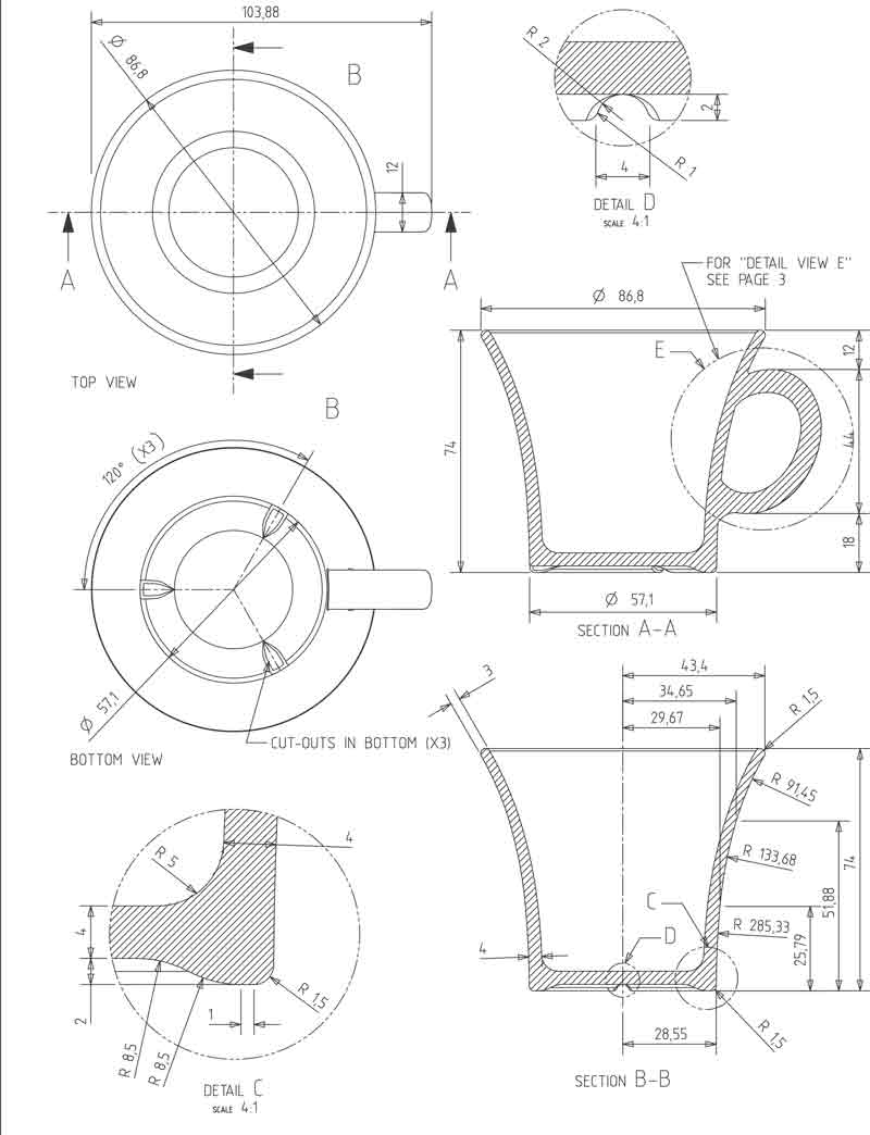 Flere udsnit af daily kob, teknisk tegning, designet er Erik Bagger