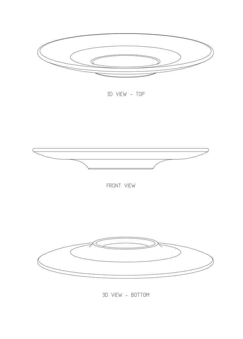Teknisk tegning af daily tallerken af Erik Bagger