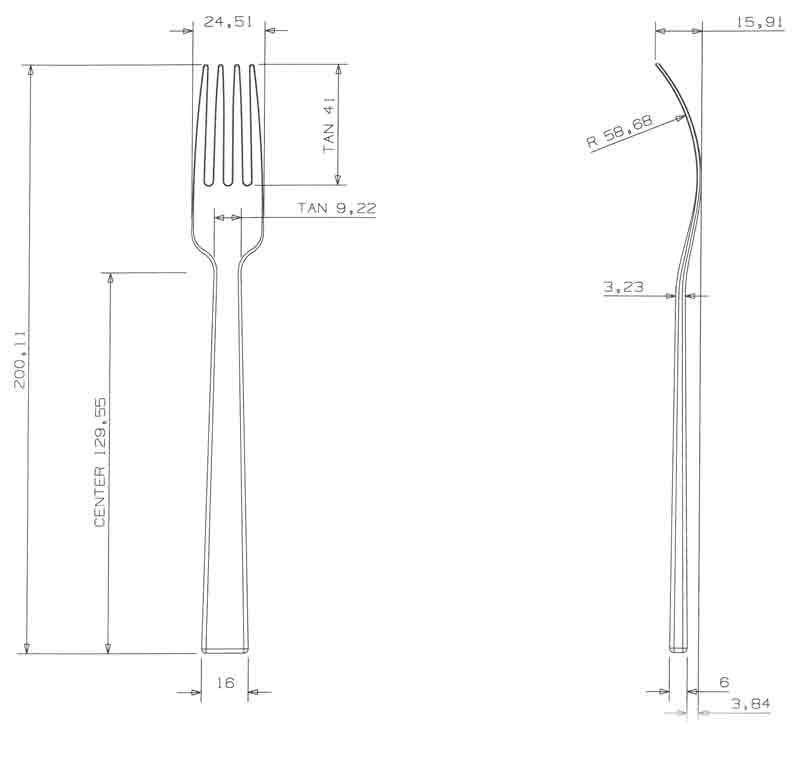 Teknisk tegning af gaffel fra Harmony serien, design af Erik Bagger