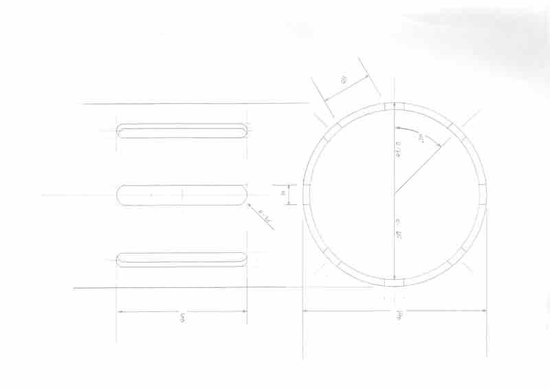 Avanceret teknisk tegning af cylinder gaslampe designet til Louisiana Museum of Modern Art lavet af Erik Bagger