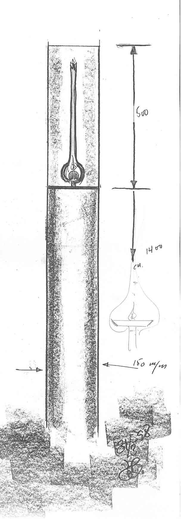 Skitse af den cylinderformet gaslampe designet af Erik Bagger til Lousiana