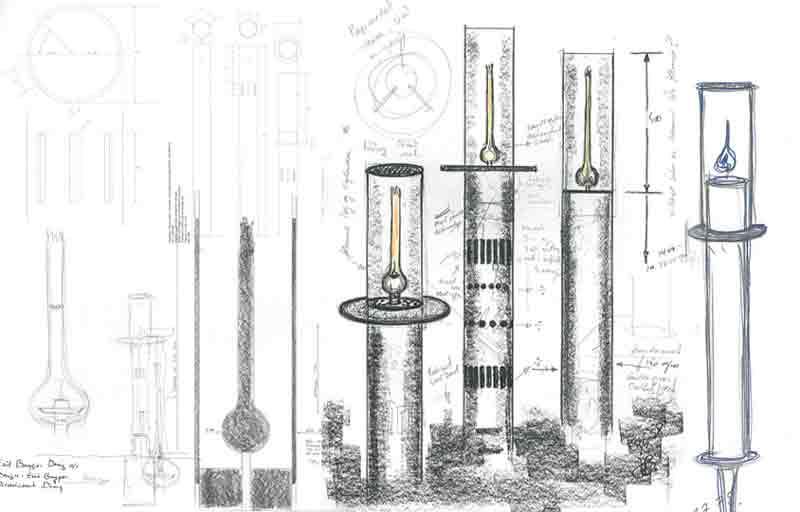 Håndtegnet skitse af cylinderformet gaslampe designet til Louisiana Museum of Modern Art