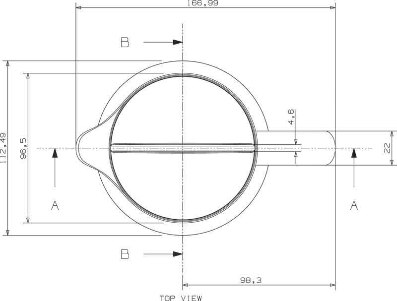 Teknisk tegning af kande set fra oven, design af Erik Bagger