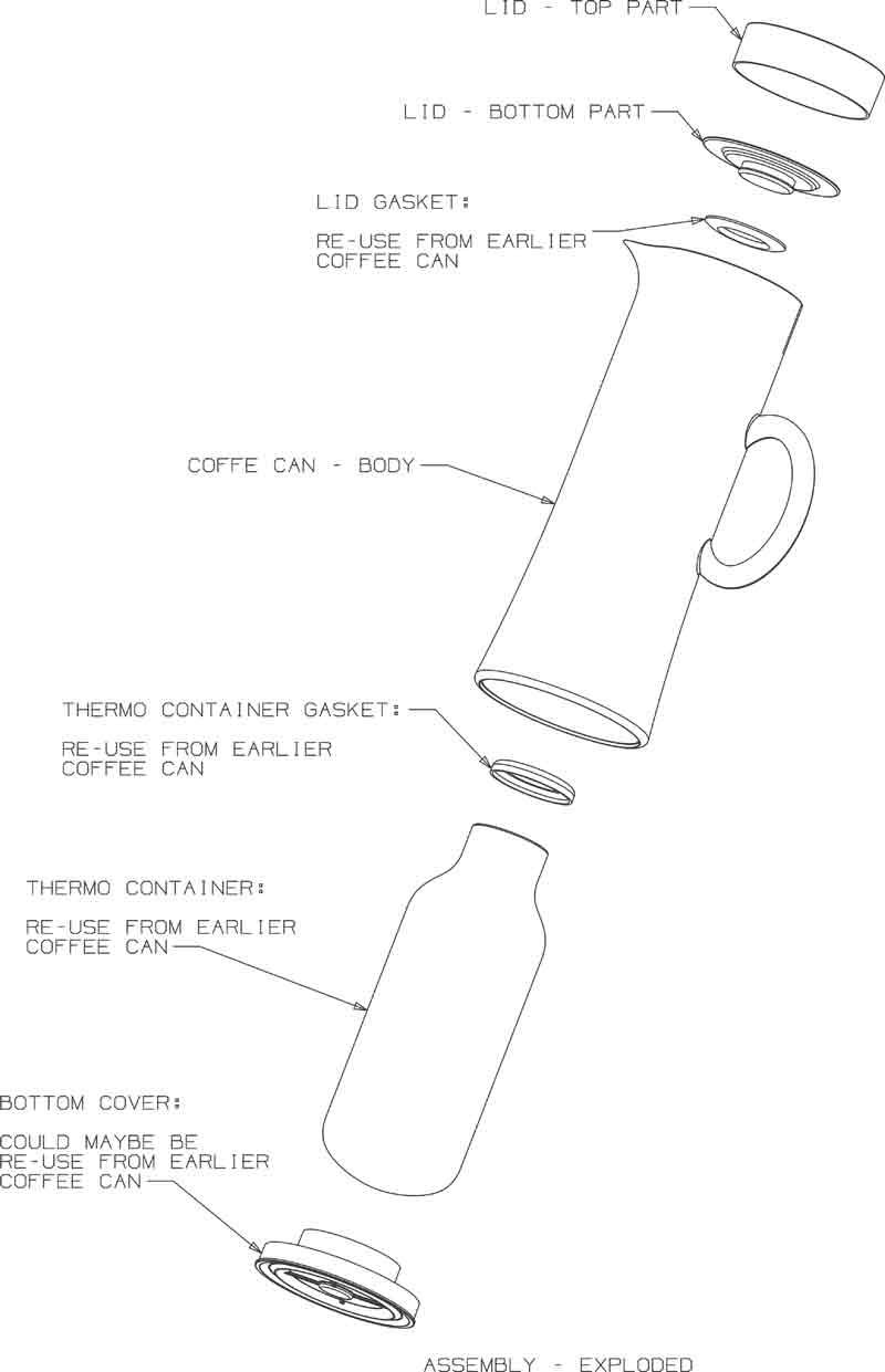 Teknisk tegning af Erik Bagger termokande