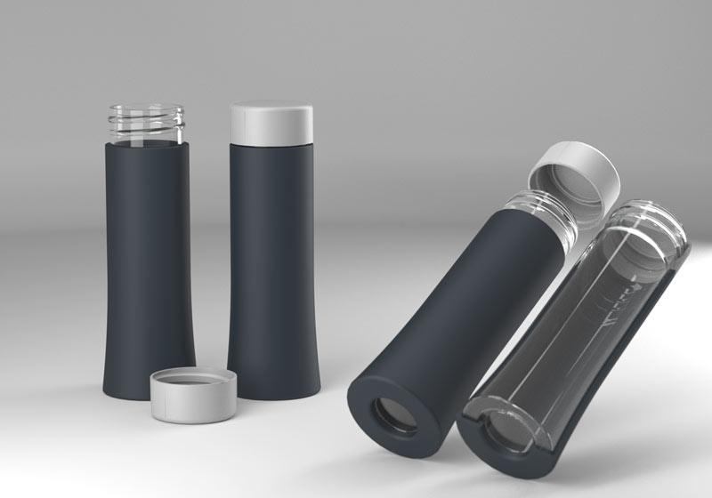 Drikkeflaske i plast vist i 3D af Erik Bagger