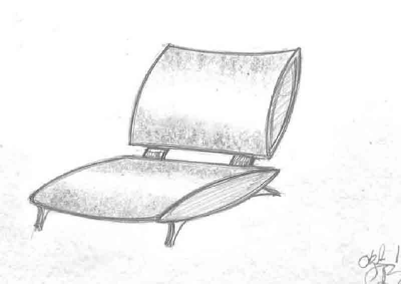 Møbeltegning tegnet af Erik Bagger