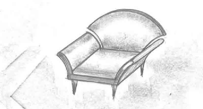 Møbelskitse tegnet af Erik Bagger