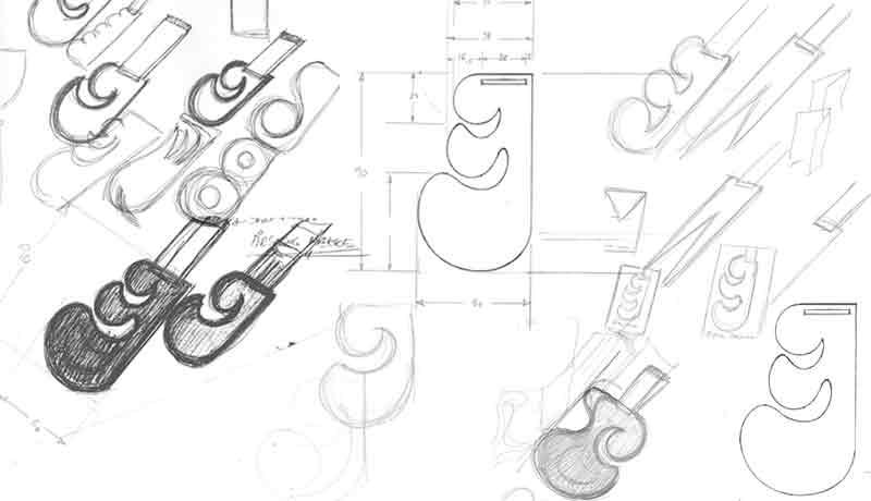 Bogmærke skitser håndtegnet af Erik Bagger
