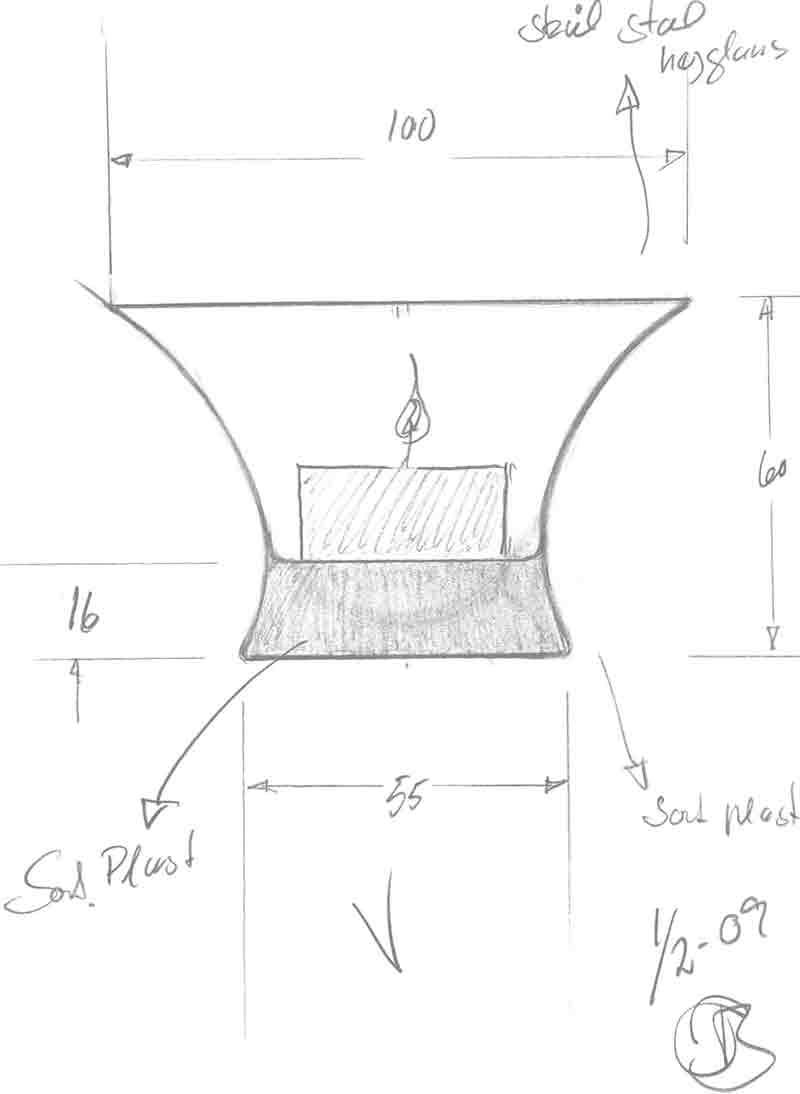 Fyrfadsstage i stål og gummi tegnet af Erik Bagger