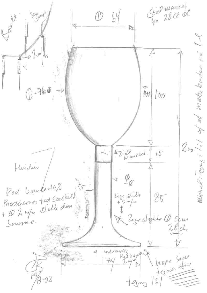 Elegance glas tegning design af Erik Bagger