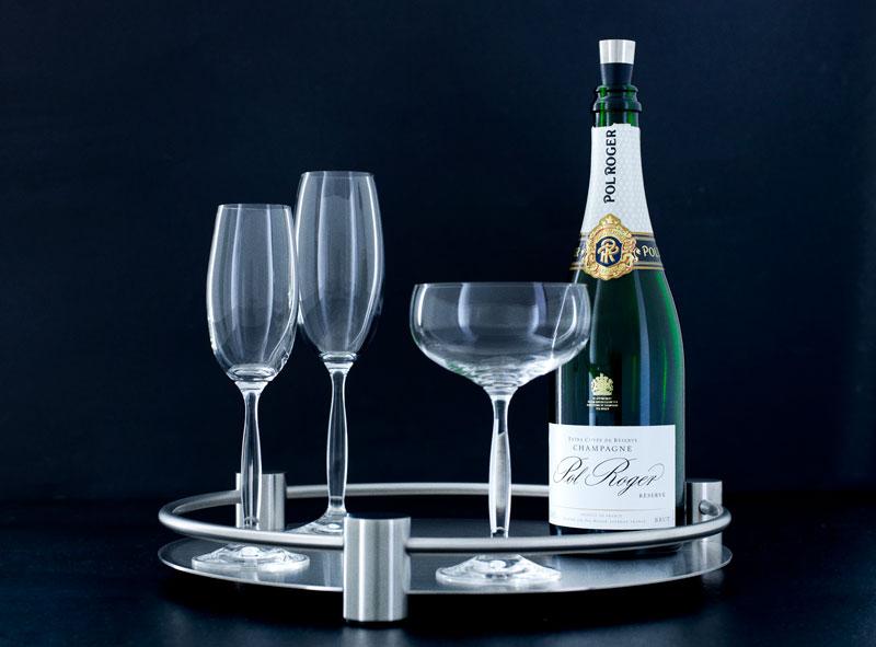 Stålfad med champange og cocktail glas, designet af Erik Bagger