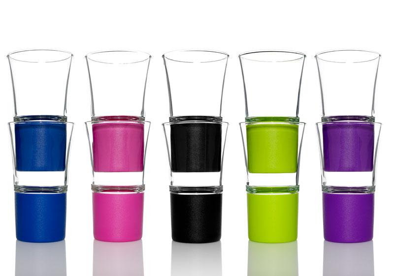 Hot n cold glas i forskellige farver, designet af erik bagger
