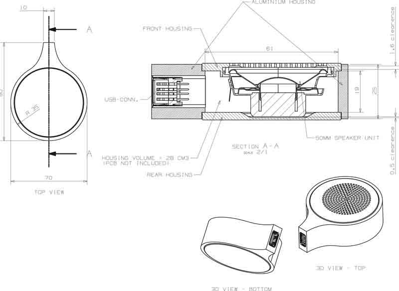 Teknisk tegning af 56 grader højtaler designet af Erik Bagger