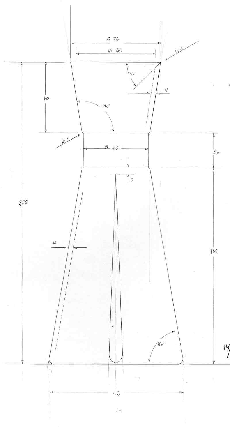 Grand cru vandkaraffel, rosendahl, teknisk tegning, design Erik Bagger