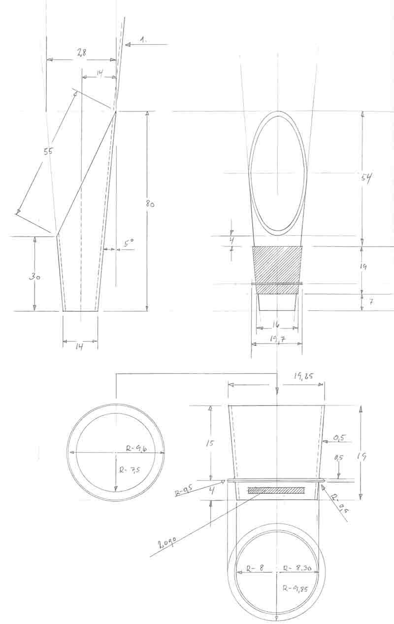Skænkeprop, grand cru, rosendahl, teknisk tegning og design af Erik Bagger
