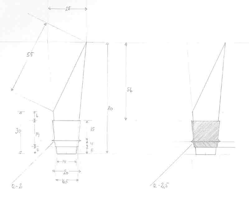 Grand cru Rosendahl skænkeprop, teknisk tegning designet af Erik Bagger